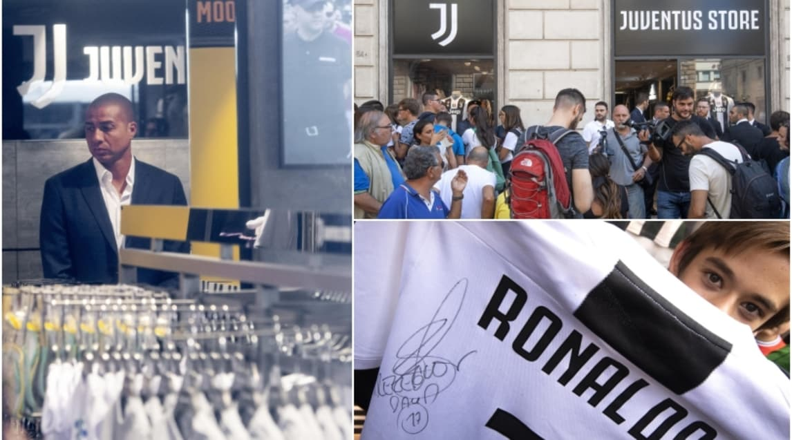 L'ex attaccante ha inaugurato il nuovo punto vendita ufficiale aperto a Roma dai campioni d'Italia e autografato le maglie numero 7 di Cristiano Ronaldo
