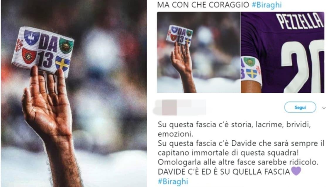 Il terzino e gli altri viola pronti a pagare le multe e anche i tifosi di tutta Italia si schierano contro la Lega, che vuole omologare il simbolo dei capitani di tutte le squadre