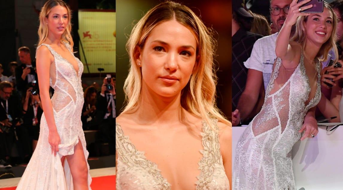 La modella e attrice, compagna dell'attaccante del Chelsea, protagonista sul red carpet