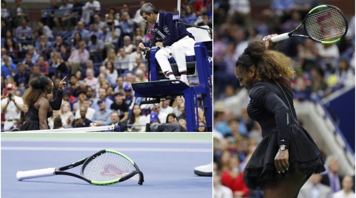 Giornata da dimenticare per la statunitense che sfascia una racchetta e litiga con l'arbitro prendendosi tre 'warning' e un game di penalità: per la prima volta uno Slam viene vinto da una tennista giapponese