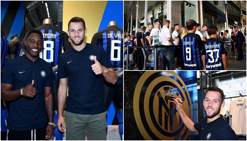 I due calciatori nerazzurri hanno incontrato i loro supporters con i quali hanno scattato foto e firmato autografi
