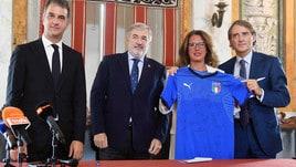 Mancini a Genova per presentare Italia-Ucraina
