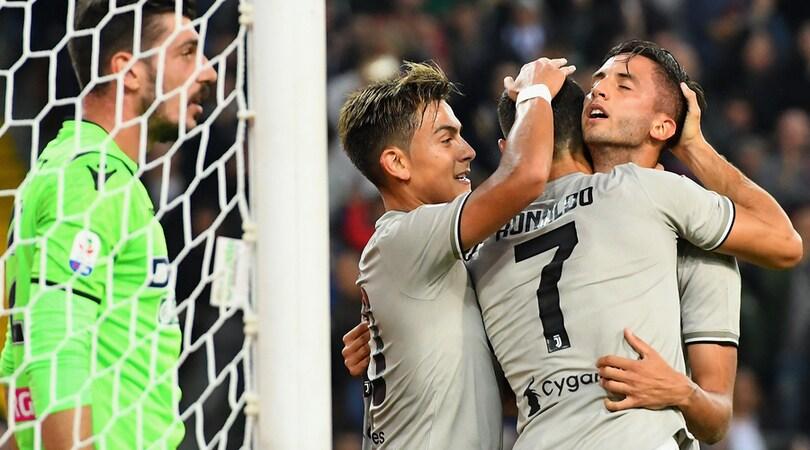 Udinese-Juventus 0-2: Bentancur-Ronaldo, otto vittorie su otto