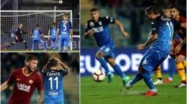 Serie A, Empoli-Roma 0-2: il rigore sbagliato da Caputo
