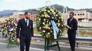 L'Italia al Ponte Morandi: deposta una corona di fiori