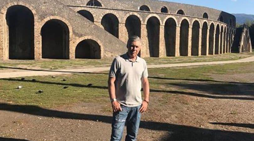Ancelotti in visita a Pompei: «L'arena un posto speciale»