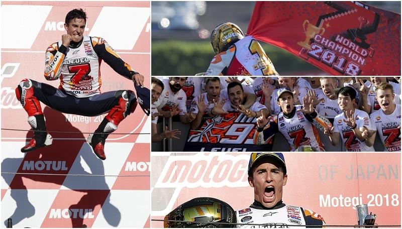 MotoGp, Marquez esagera durante i festeggiamenti: «Mi è uscita una spalla»