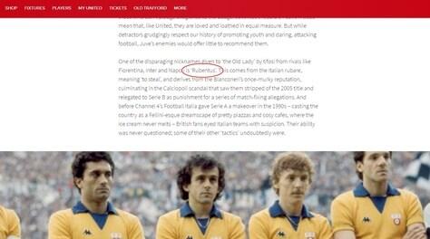Manchester United-Juventus, il sito dei Red Devils: «La chiamano Rubentus»