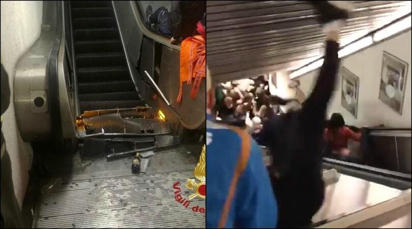Roma, crolla la scala mobile della metropolitana: coinvolti tifosi del Cska, 24 feriti