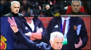 Mourinho, scintille con i tifosi della Juve: il 3 del triplete per replicare ai cori