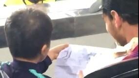Messi guarda Barça-Inter: il figlio disegna il logo della Juventus