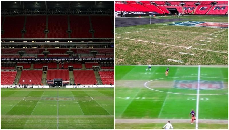 Wembley devastato dalla Nfl: zone senza erba e linee di gioco da football americano