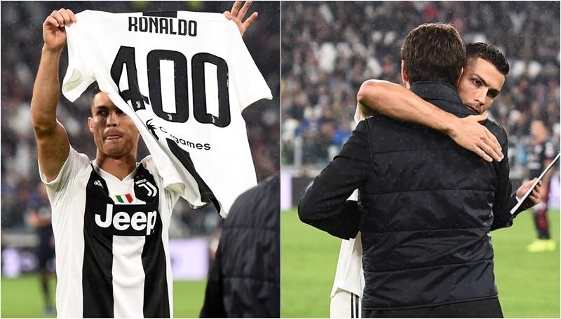 Juventus, Cristiano Ronaldo festeggia i 400 gol. L'abbraccio con Agnelli