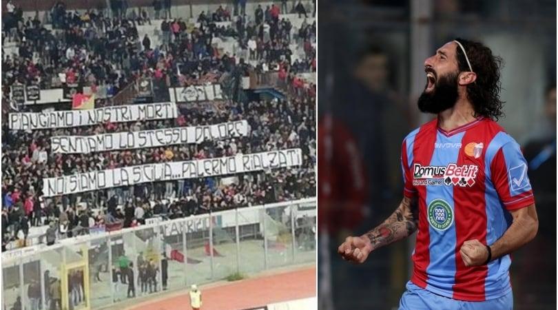 Catania, oltre la rivalità: striscione per i morti di Palermo