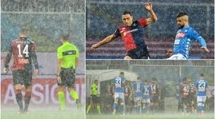 Genoa-Napoli, bomba d'acqua a Marassi: gara sospesa per 13'
