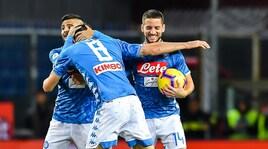 Genoa-Napoli 1-2: Fabian Ruiz risponde a Kouame, poi autogol di Biraschi