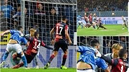 Genoa-Napoli 1-2, vane le proteste rossoblù sull'autogol di Biraschi: la sequenza