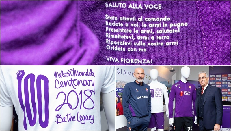 Fiorentina, Salica e Pioli presentano la maglia dedicata a Mandela