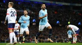 Premier League: il City batte il Bournemouth e allunga in vetta, pari United