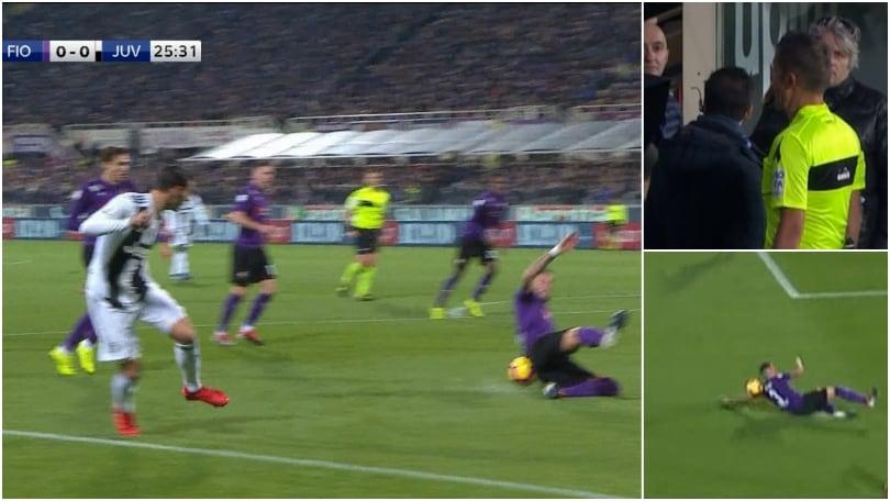 Fiorentina-Juventus: i bianconeri chiedono il rigore, Orsato e il Var lasciano correre