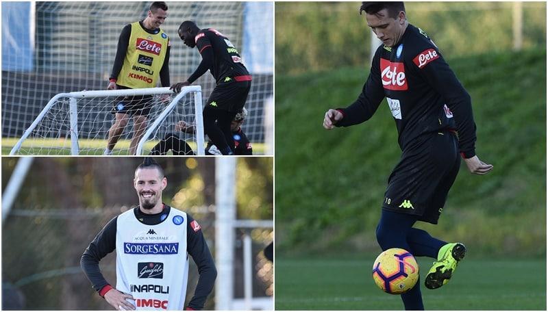Napoli, allenamento in vista del Frosinone: Milik scherza con Malcuit