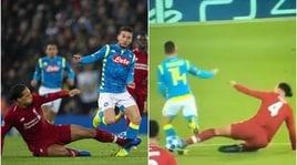 Liverpool-Napoli, l'intervento killer di Van Dijk su Mertens