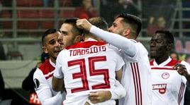 Olympiacos-Milan, la moviola:Torosidis steso dal suo compagno, rigore inventato