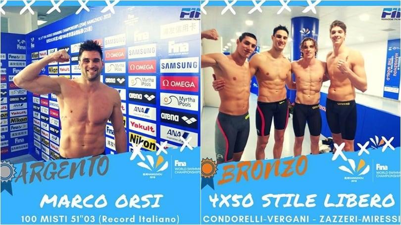 Nuoto, Mondiali in vasca corta: argento ad Orsi, bronzo per la 4x50 sl