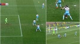 Lazio-Torino: il contatto tra Marusic e Belotti che ha portato al rigore