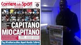 Koulibaly con la prima pagina del Corriere dello Sport-Stadio