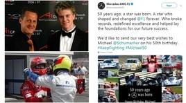 50 volte Schumi: gli auguri per il campione di F1