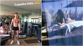 Ronaldo mostra i muscoli e Georgina la sua silhouette