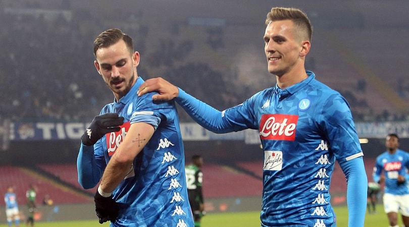 Coppa Italia Napoli Sassuolo 2-0 Ancelotti ai quarti con Milik e Fabian Ruiz