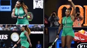 Che look Serena Williams: in 'tutina' per battere la Halep