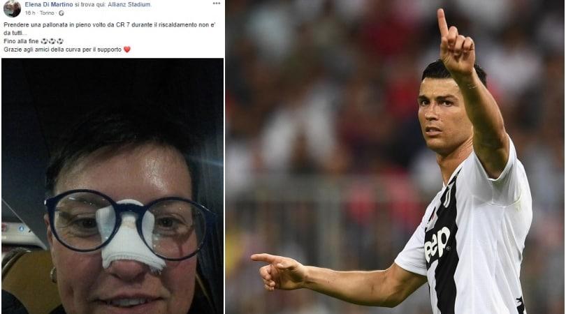 Pallonata in faccia da Ronaldo, la tifosa della Juventus:«Adesso portami a cena!»