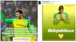 Emiliano Sala, il mondo del calcio si mobilita: «Non smettete di cercarlo»