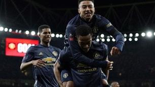 Arsenal-Manchester United 1-3: Red Devils agli ottavi di FA Cup