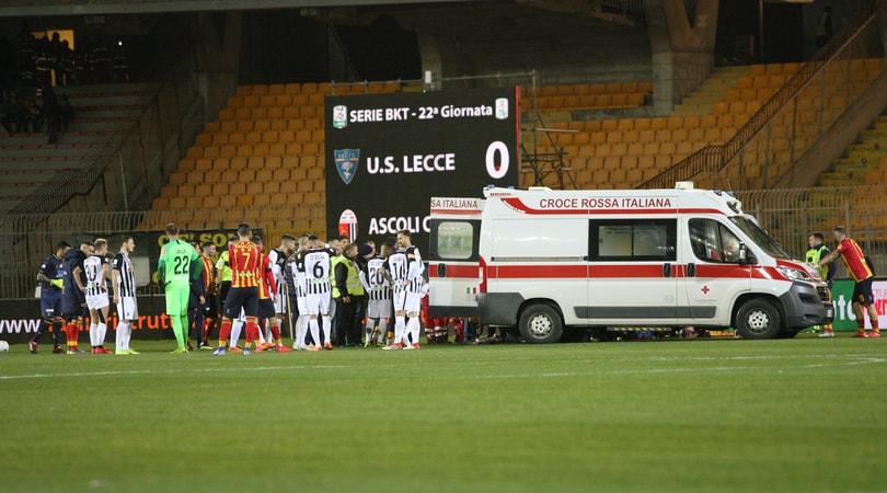 Serie B Lecce-Ascoli, ufficiale: rinviata a data da destinarsi per l'infortunio a Scavone