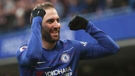 Premier League: Chelsea, la doppietta di Higuain fa sorridere Sarri