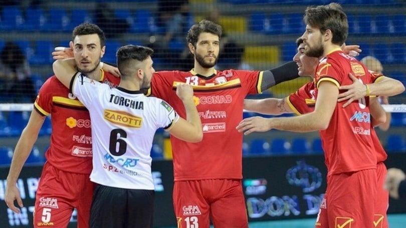 Volley: A2 Maschile, Girone Bianco, Reggio batte Leverano e si issa al terzo posto