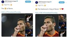 """La Champions ricorda Totti, ma si corregge sul """"Re di Roma"""""""
