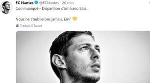 Emiliano Sala, sui social il cordoglio del mondo dello sport