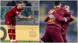 Kolarov, l'inchino ai tifosi dopo il gol divide i tifosi della Roma