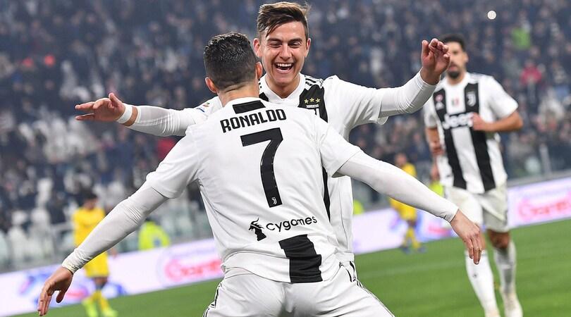 Juventus-Frosinone 3-0: Dybala-Bonucci-CR7, ora l'Atletico