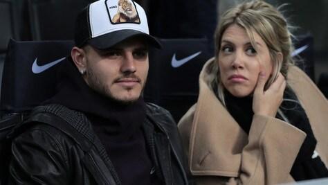 Mauro Icardi e Wanda Nara a San Siro per Inter-Sampdoria