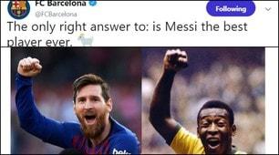 Messi show, esultanza come Pelé. E il Barcellona sui social «provoca» Ronaldo...