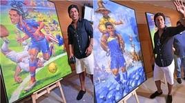 Brasile, Ronaldinho inaugura la mostra con i quadri sulla sua carriera