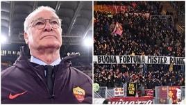 Ranieri, la 'prima' con la Roma: la Sud gli dedica uno striscione