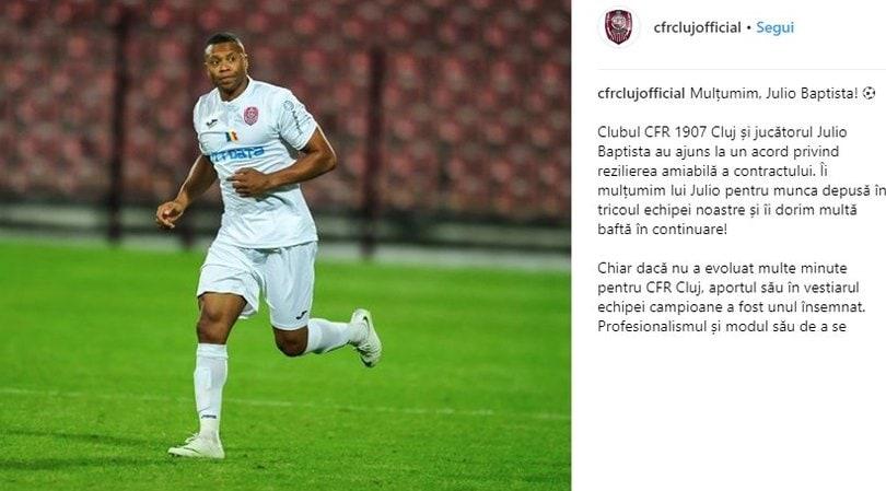 Julio Baptista ha rescisso con il Cluj dopo aver giocato solo 42 minuti!