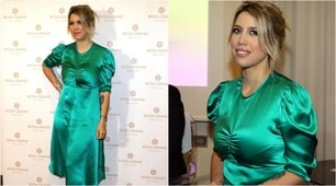 Wanda Nara in verde incanta Milano
